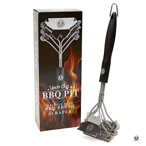 Grill Brush Bristle Free Safe For BBQ - Stainless Steel Grilling Brush Cleaner - Great on Black Iron BBQ Grill - Professional Grade Scraper For Cleaning Gas/Charcoal Grill - Wrapped For Gift Men/Women