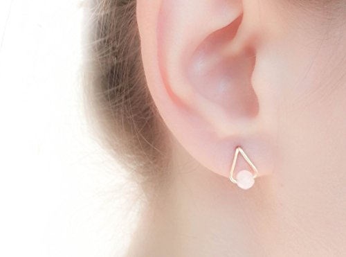 Coral Colored Rose (Drop Rose Quartz Earrings 14k Gold Filled Studs)