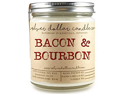 - 8oz Bacon & Bourbon Man Candle Hand poured 100% Soy Wax Scented Candle by Silver Dollar Candle Co. - Maple, Gifts for Men