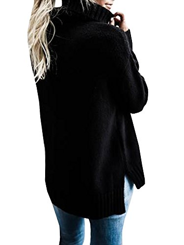 Abninigee Womens Turtleneck Polo Neck Ribbed Long Pullover Sweater Side Slit Jumper