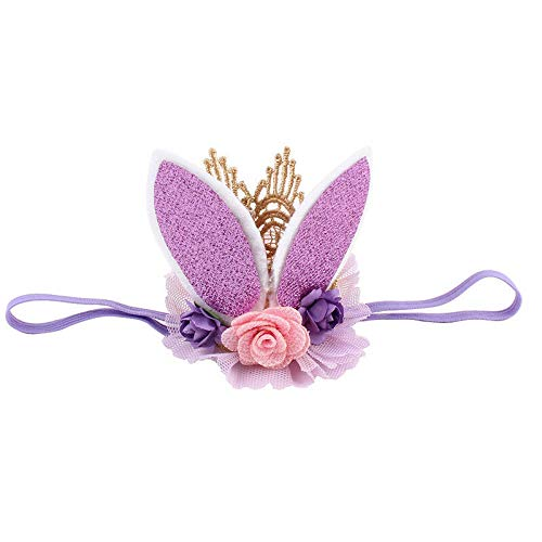 Fashion Rabbit Ears Tiara Lace Hairband Flower Headband for Baby Girl Toddler DR (Color - Purple)