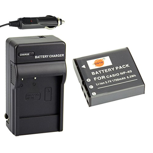 DSTE Replacement for NP-40 Battery + DC73 Travel and Car Charger Adapter Compatible Casio EX-FC100 FC150 FC160S Z400 PRO P505 P600 P700 Zoom Z100 Z1000 Pentax XG-1 Camera as LB-060 ()