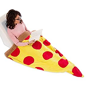 Silver Lilly Food Shaped Sleeping Bag Blanket - Novelty Wearable Plush Fleece Throw Blanket for Kids and Adults (Pepperoni)