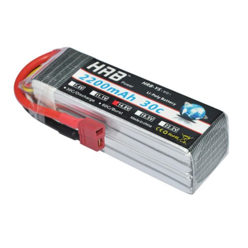 HRB 2200mAh 14.8V 4S 30C RC LiPo Battery Pack with Dean-T Plug for RC Airplane Helicopter Quadcopter Vehicle Boat