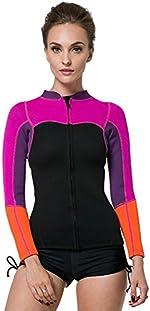 SBART Women's 2mm Neoprene Wetsuits Jacket Long Sleeve Wetsuit Top