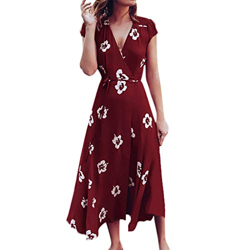 POQOQ Maxi Dress Women's Floral Print Short Sleeve V-Neck Bandage Boho Summer Dress(Red,L) -