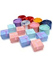 HOSTK 16pc Cute Paper Jewelry Gifts Boxes Earring Necklaces Anniversaries Weddings Bracelet Round and Square for Lover Girlfriend Assorted Color