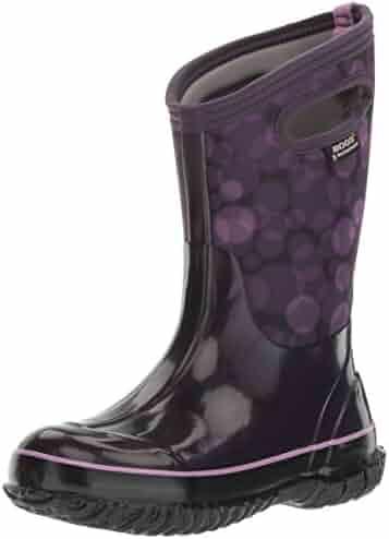 Bogs Kid's Classic High Waterproof Insulated Rubber Neoprene Rain Boot Snow, Circles Print/Eggplant/Multi, 9 M US Toddler