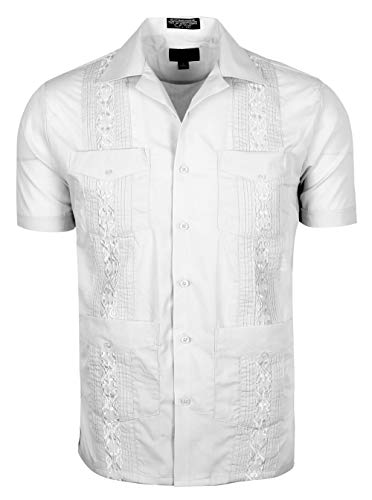 TrueM Men's Short Sleeve Cuban Guayabera Shirts (4XL, White) ()