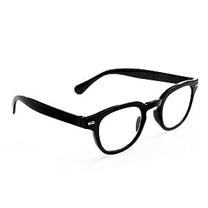 Doober 1PC Men Women Retro Round Frame Rimed Reading Glasses Eyeglasses +1.0 ~+4.0 (Black, 2.5)