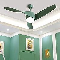 YuFLangel 12W LED Fan Chandelier Modern Minimalist Living Room Restaurant Remote Control Retro Spiral Fan Leaf Ceiling Fan Light (3 Blades) (Color : Green)