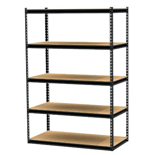 Gorilla Rack GRZ6-4824-5PCB 48 by 24 by 72-Inch Shelving Unit with 5-shelf, Black by Gorilla Rack