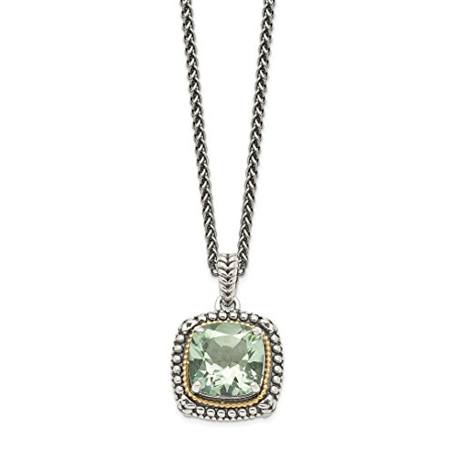 925 Sterling Silver 14k Green Quartz Chain Necklace Pendant Charm Gemstone Fine Jewelry Gifts For Women For Her