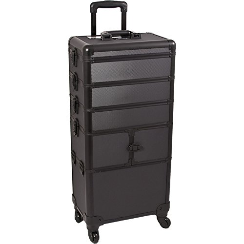 Sunrise-I3364-Pro-4-Wheels-4-in-1-Rolling-Makeup-Cosmetic-Train-Case-Organizer-with-9-Trays-Dot-Black