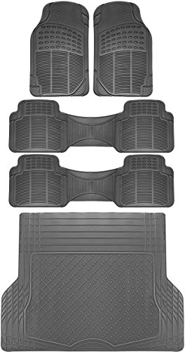 OxGord 5pc Rear Set Ridged Rubber Floor Mats, Universal Fit Mat for SUVs Vans- Rear Driver Passenger Side, Rear Runners and Trunk Liner Gray