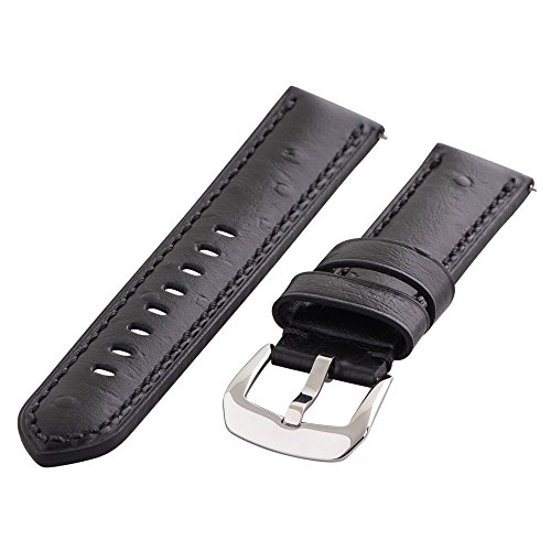 Clockwork Synergy Gentlemen's Collection - 24mm Black Ostrich Grain Leather Watch Band