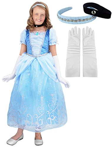 Little Pretends Deluxe Cinderella Princess Costume Set (Large (7-8 yrs)) (Cinderella Wedding Dress Costume)