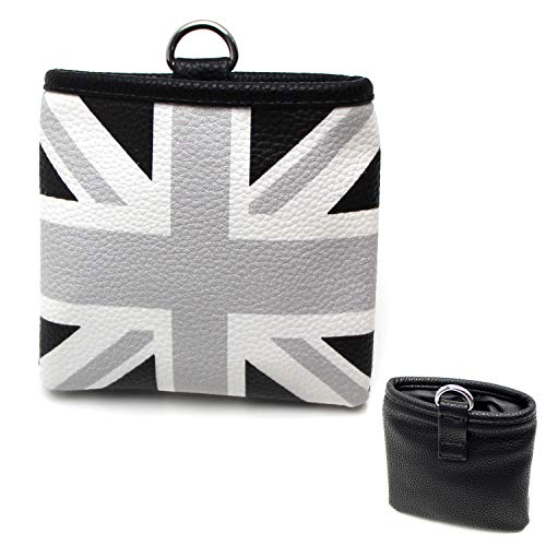 iJDMTOY (1 Black/Grey Union Jack UK Flag Style Air Vent Hanging Organize Bag for Smartphone, Drinks, Sunglasses, etc (Mini Cooper Trash Can)