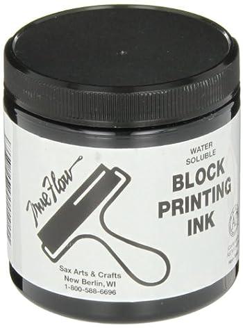 Sax True Flow Water Soluble Block Printing Ink - 8  Ounce Jar - Black