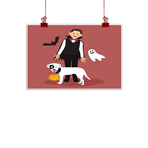Mannwarehouse Art Oil Paintings Halloween Dracula Costumes with White Dog Carrying a Pumpkin Canvas Prints for Home Decorations 35