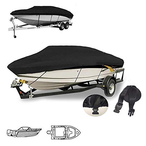YFjyo Trailerable Boat Cover, Heavy Duty Waterproof UV Resistant Marine Grade Polyester, All Weather Outdoor Protection Fits V-Hull, TRI-Hull, Pro-Style, Fishing Boat,11~13FT