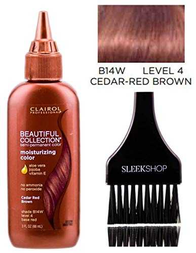 Clairol BEAUTIFUL COLLECTION Moisturizing SEMI-PERMANENT Hair Color Dye (w/Sleek Tint Brush) No Ammonia No Peroxide Haircolor Aloe Vera Jojoba Vitamin E (B14W - Cedar Red Brown)