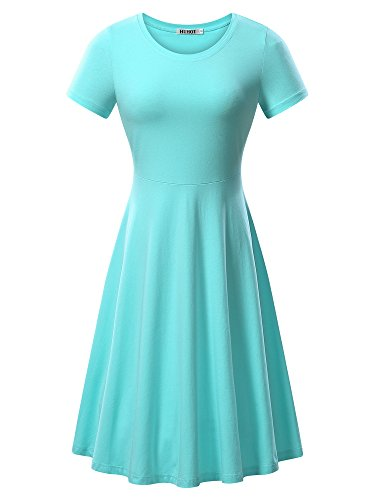 HUHOT Women Short Sleeve Round Neck Summer Casual Flared Midi Dress (Small, Light Blue)