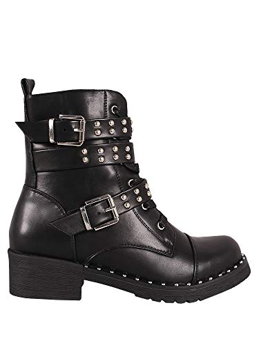 Ermonn Womens Rivet Studded Boots Lace Up Double Buckle Strap Military Combat Boots - stylishcombatboots.com