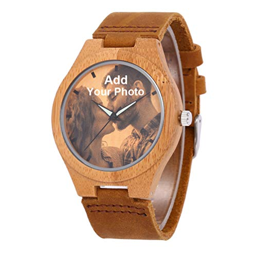 (Personalized Customized Wooden Watch for Men Photo Print On Watch Face and Engraving for Birthday Anniversary Gift)