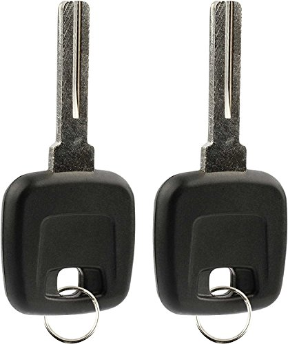 KeylessOption Uncut Blade Ignition Chipped Car Key Blank With Replacment Transponder Chip For Volvo (Pack of 2)