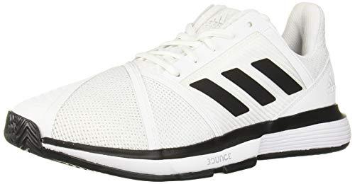 adidas Men's CourtJam Bounce Wide Tennis Shoe White/Black/Matte Silver 9 W US