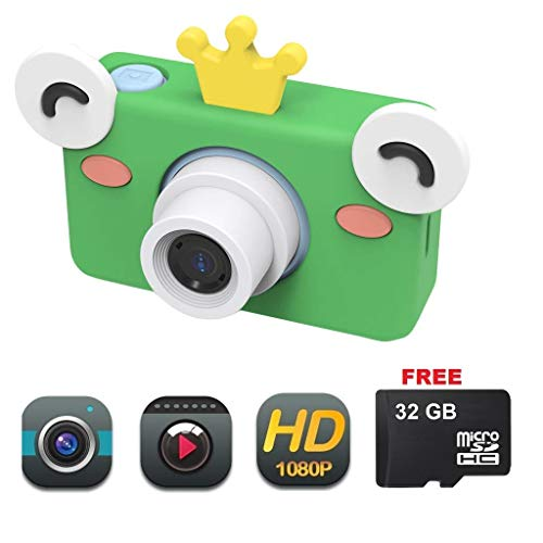 Camera for Kids by Dent - Toy Camera HD 8MP Video Digital Camera Camcorder for Girls and Boys Includes 32gb microSD Card (Frog Camera)