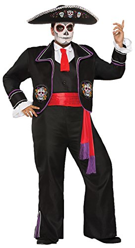 UHC Men's Mariachi Day Of The Dead Macabre Outfit Halloween Costume, Plus (44-48) ()