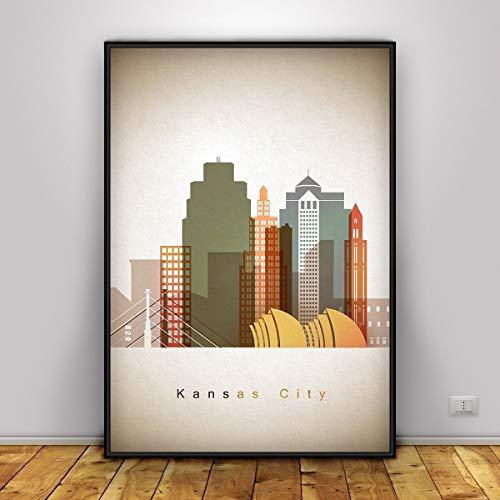 Kansas Colorful Skyline Poster, City Print of Kansas, United States Modern Art, Kansas Silhouette Print, Cityscape Decor, Kansas Cityscape, Unframed print