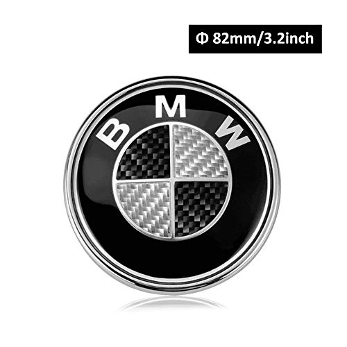 BMW Emblems Hood and Trunk, Black Carbon Fiber BMW Emblem Logo Replacement 82mm for All Models BMW E30 E36 E46 E34 E39 E60 E65 E38 X3 X6 3 4 5 6 7 8 (82mm)