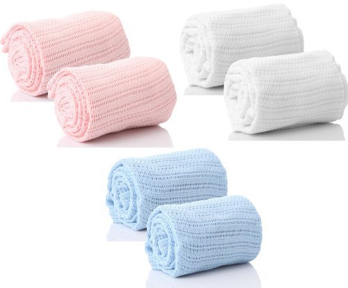 2 X Pair of 100% Pure Cotton Cellular Baby Blanket for Pram Cot Bed Moses Basket Crib in Blue Pink or White (2 x Pink)