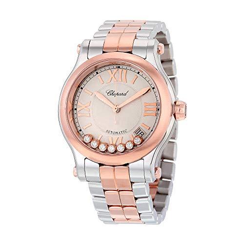New Ladies Chopard Happy Sport Medium Automatic 36mm 18k Rose Gold & Steel Watch