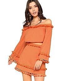 Women's 2 Piece Outfit Fringe Trim Crop Top Skirt Set