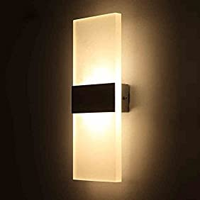 OWIKAR 3W LED Wall Light Sconces Lamp 5.51x2.36inch Fixture Acrylic Decorative Lamp for Bedroom Living Room Balcony Corridor Staircase Warm White