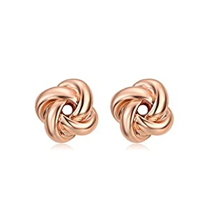 DIFINES Redbarry Korean Style Love knot Shaped Twist Gold Plated Post Stud Earrings ❤Graduation Gifts❤(2 Tones)