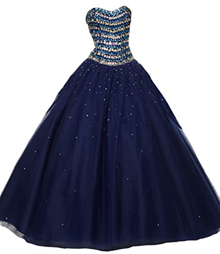 Dearta Women's A-Line Sweetheart Lace-up Quinceanera Dresses Navy Blue US 0 (Big Poofy Dresses)