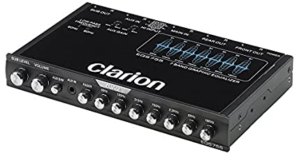 Clarion EQS755 7-Band Car Audio Graphic Equalizer with Front 3 5mm  Auxiliary Input, Rear RCA Auxiliary Input and High Level Speaker Inputs