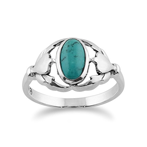 Silver 0.77ct Turquoise Leaf Design Ring ()