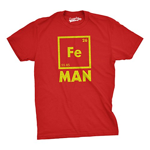 Periodic table gifts amazon mens iron man science t shirt cool novelty funny superhero tee for guys red l urtaz Images