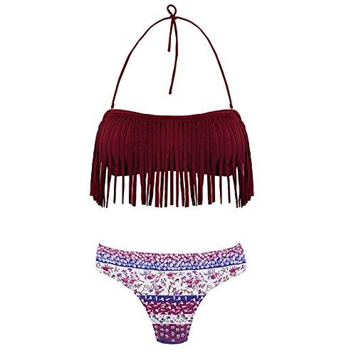 Glands Vin Bain Pièces Deux Femmes Rembourré Halter Suits Maillot 01 Zone Rouge Fringed De Lsyy Ensemble Andux Bathing Aux Bikini qBAgtn