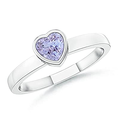 Angara Solitaire Heart Tanzanite Promise Ring with Diamond in Platinum WfRwG
