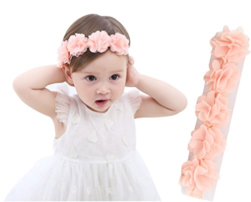 Pink Flower Toddler Costumes (Baby Elastic Headbands Princess Girls Lace Floral Headwear Party Supplies (Pink flower))