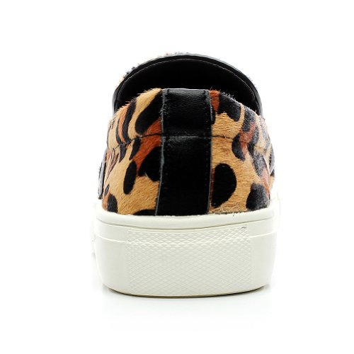 Shenn Mujer Moda Ponerse Comodidad Casual Cuero Zapatillas L290 Leopardo