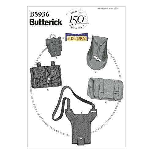 BUTTERICK PATTERNS B5936 Gauntlet, Water Bottle Carrier and Pouches Sewing Template, One Size Only