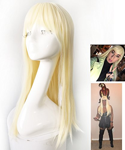 Namecute Bleach Blonde Wig Long Straight Wigs Bangs Full Cap Synthetic Natural Hair for Women 24 Inch + Free Wig Cap]()